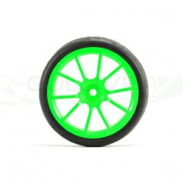 Roues montées collées Fastrax 1/10 piste/route 10sp néon green