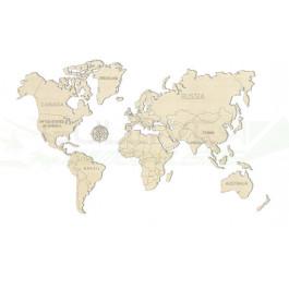 Puzzle mécanique bois Carte du monde L