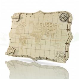 Puzzle mécanique bois Carte du monde expédition série mots
