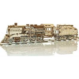 Puzzle mécanique bois Locomotive + Tender