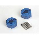Hexagone de roue alu bleu x2