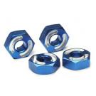 Hexagones de roues 6061-t6 alu anodises bleu + goupilles (4)