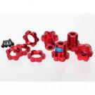 Hexagones de roues alu anodises rouge + ecrous de roues anodises roug
