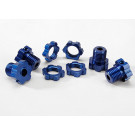 Hexagones de roues alu anodises bleu + ecrous de roues anodises bleu