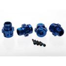 Hexagones de roues + ecrous 6061-t6 alu anodises bleu xo-1