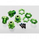 Hexagones de roues alu anodises vert + ecrous de roues anodises vert